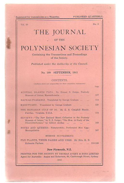 Image for The Journal Of The Polynesian Society Containing The Transactions And Proceedings Of The Society. Volume 50, Number 3.