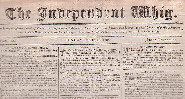 Image for The Independent Whig (Numb. 144, Sunday, Oct 2, 1808)