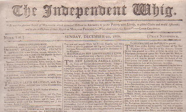 Image for The Independent Whig (Numb. 156, Sunday, December 25, 1808)