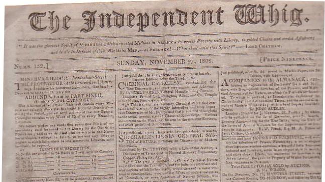 Image for The Independent Whig (Numb. 152, Sunday, November 27, 1808)
