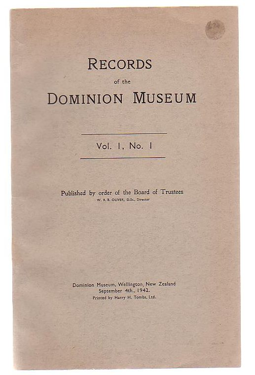 Image for Records Of The Dominion Museum, Vol 1, No. 1
