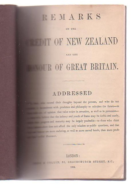 Image for Remarks On The Credit Of New Zealand And The Honour Of Great Britain