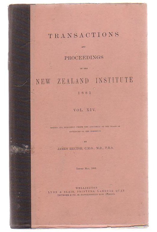 Image for Transactions And Proceedings Of The New Zealand Institute, 1881. Vol XIV.