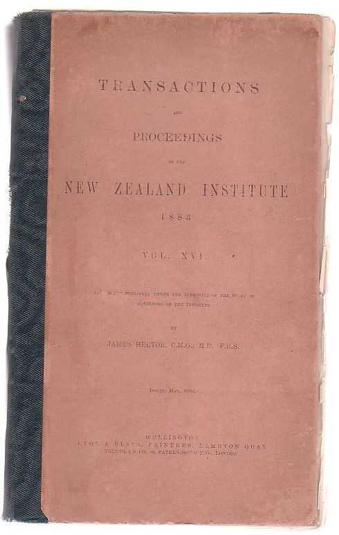 Image for Transactions And Proceedings Of The New Zealand Institute, 1883. Vol XVI.