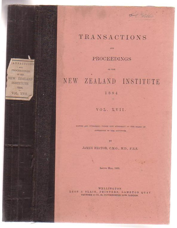 Image for Transactions And Proceedings Of The New Zealand Institute, 1884. Vol XVII.