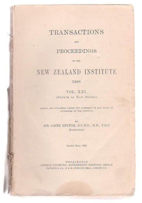 Image for Transactions And Proceedings Of The New Zealand Institute, 1888. Vol XXI(Fourth Of New Series)