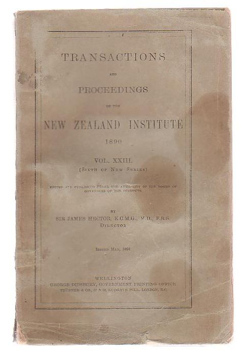 Image for Transactions And Proceedings Of The New Zealand Institute, 1890. Vol XXIII(Sixth Of New Series)