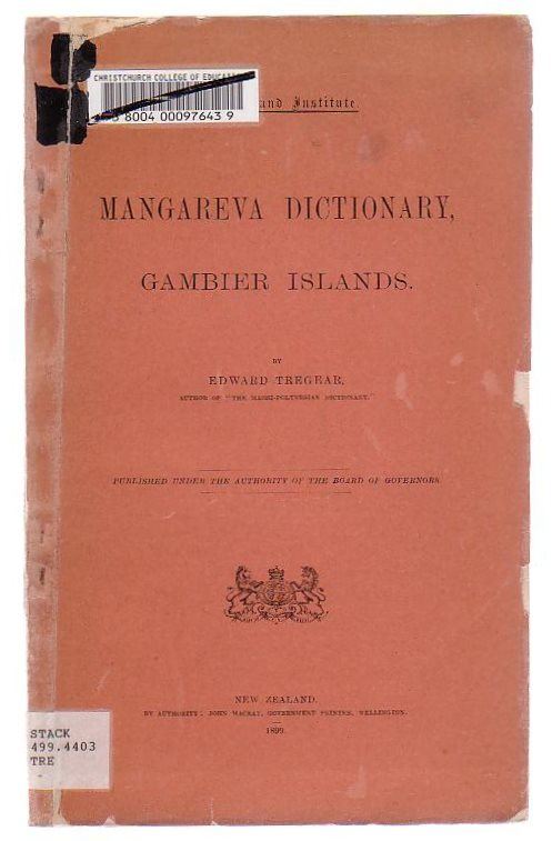 Image for A Dictionary Of Magareva (Or Gambier Islands)