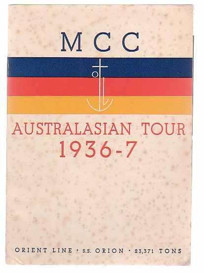 Image for MCC Australasian Tour 1936-7
